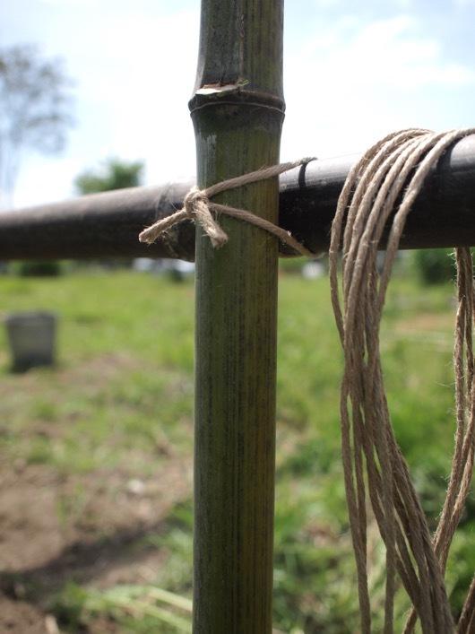 竹垣を固定 いぼ結び