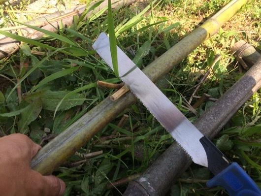 竹垣用の竹をカット