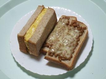 3/14 昼食 厚焼き玉子サンドと納豆チーズトースト