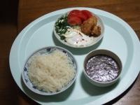 4/17 昼食 こんにゃくそうめん、ギバサ入り麺つゆ、鶏から揚げ、目玉焼き
