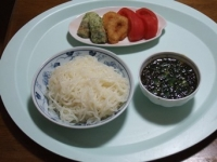 4/18 昼食 こんにゃくそうめん、ギバサ入り麺つゆ、ちくわ天、イカリング、トマト