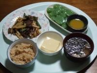 4/22 夕食 ジャガイモと牛肉のオイスター炒め、玉子豆腐、刺身こんにゃく、小町麩とギバサの味噌汁、筍ごはん