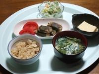 4/24 夕食 アジのさんが焼き、ポテトサラダ、玉子豆腐、ニラ玉味噌汁、筍ご飯