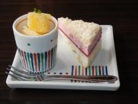 4/22 デザート パインシャーベットとイチゴケーキ  かごの屋
