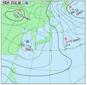 2月15日(水)6時の実況天気図