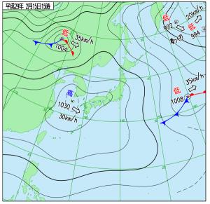2月15日(水)15時の実況天気図