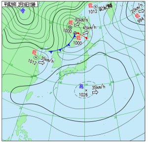 2月16日(木)15時の実況天気図