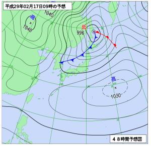2月17日(金)9時の予想天気図
