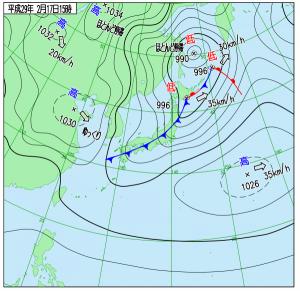 2月17日(金)15時の実況天気図