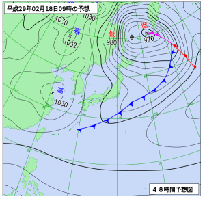 2月18日(土)9時の予想天気図