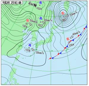 2月19日(日)6時の実況天気図
