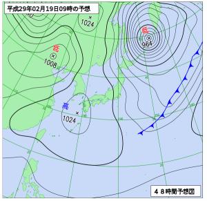 2月19日(日(9時の予想天気図