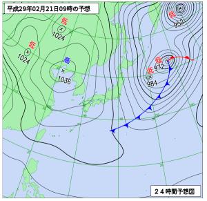 2月21日(火)9時の予想天気図