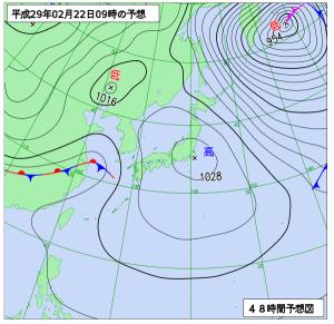 2月22日(水)9時の予想天気図