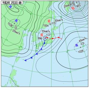2月23日(木)6時の実況天気図