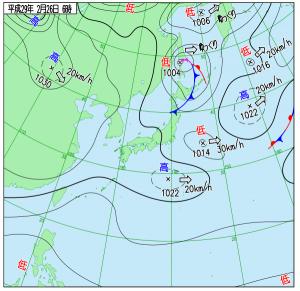2月25日(日)6時の実況天気図
