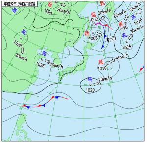 2月26日(日)15時の実況天気図