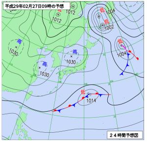 2月27日(月)9時の予想天気図