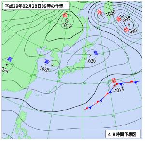 2月28日(火)9時の予想天気図