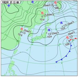 3月1日(水)6時の実況天気図