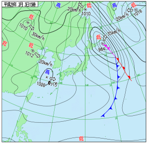 3月3日(金)15時の実況天気図
