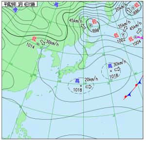 3月4日(土)15時の実況天気図