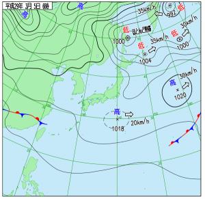 3月5日(日)6時の実況天気図