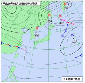 3月5日(日)9時の予想天気図