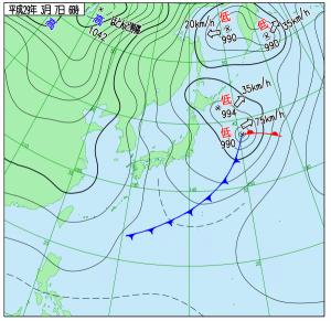 3月7日(火)6時の実況天気図