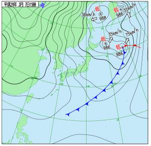3月7日(火)15時の実況天気図