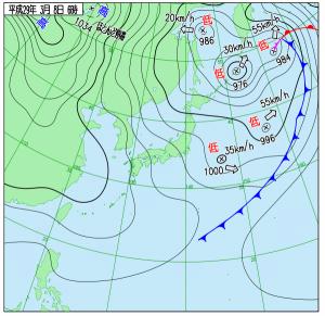 3月8日(水)6時の実況天気図