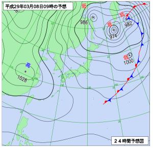 3月8日(水)9時の予想天気図