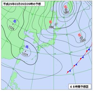 3月9日(木)9時の予想天気図