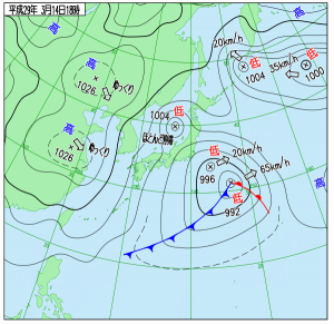 3月14日(火)15時の実況天気図