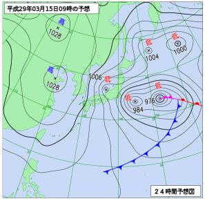 3月15日(水)9時の予想天気図
