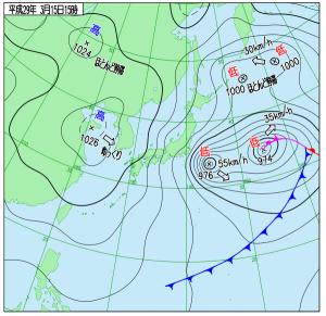 3月15日(水)15時の実況天気図