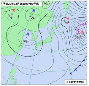 3月16日(木)9時の予想天気図