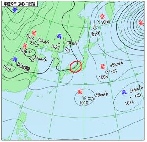 3月24日(金)15時の実況天気図