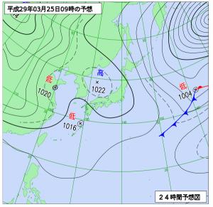 3月25日(土)9時の予想天気図