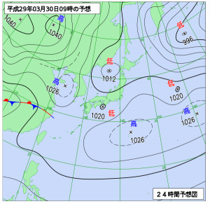 3月30日(木)9時の予想天気図