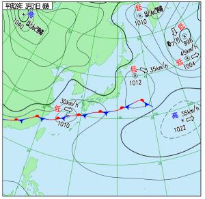 3月31日(金)6時の実況天気図