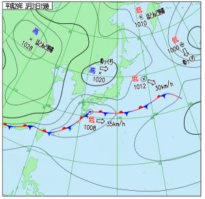 3月31日(金)15時の実況天気図