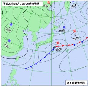 4月1日(土)9時の予想天気図