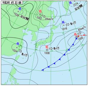 4月2日(日)6時の実況天気図