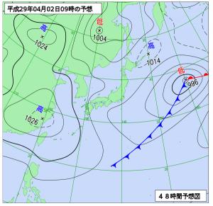 4月2日(日)9時の予想天気図