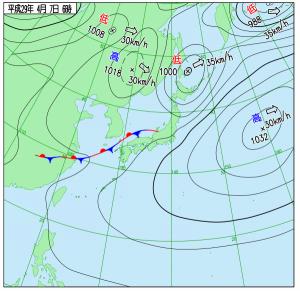 4月7日(金)6時の実況天気図
