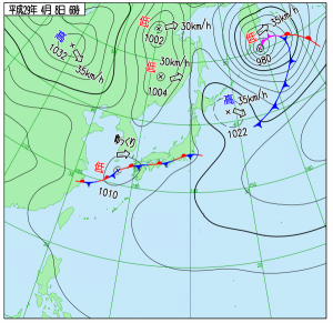 4月8日(土)6時の実況天気図