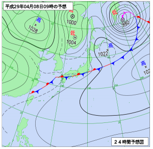 4月8日(土)9時の予想天気図