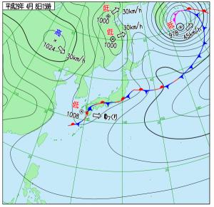 4月8日(土)15時の実況天気図