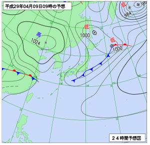 4月9日(日)9時の予想天気図
